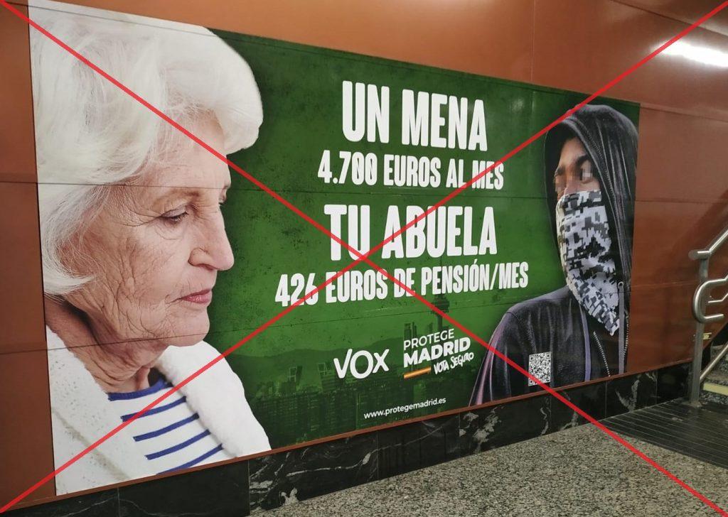 Cartel electoral de Vox atacando a los menores extrangeros no acompañados